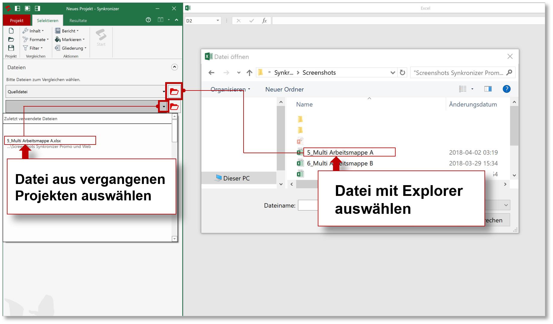 Synkronizer Excel Compare: Excel Tabellen zusammenführen und vergleichen