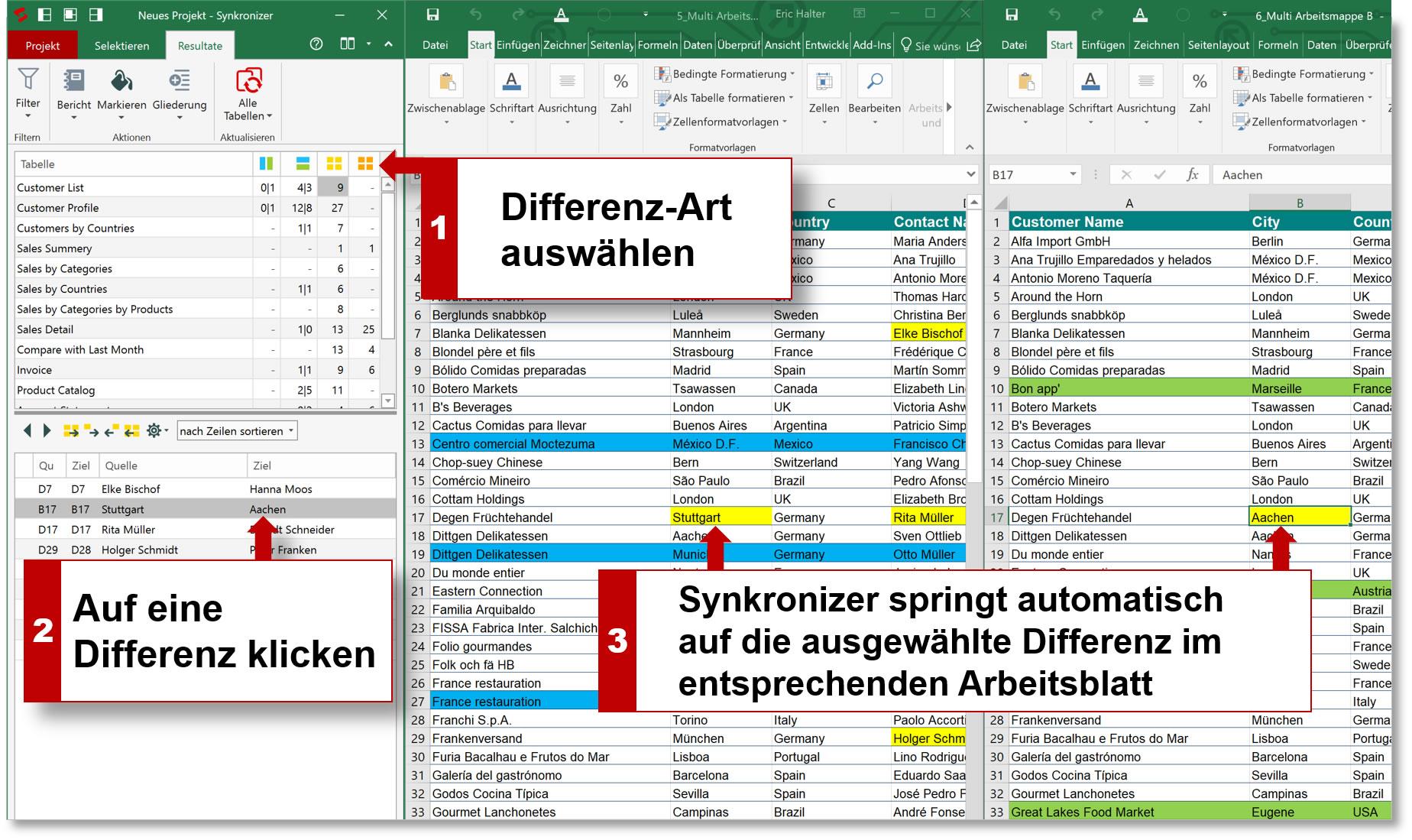 Synkronizer Excel Compare: Excel Dateien zusammenführen