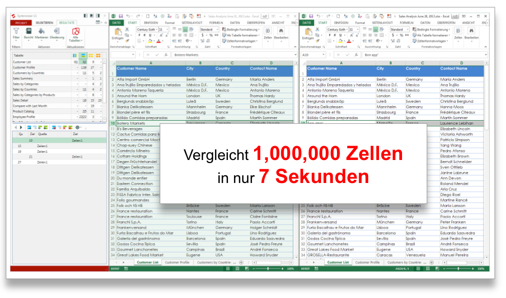 Synkronizer Excel Compare: Excel Tabellen vergleichen